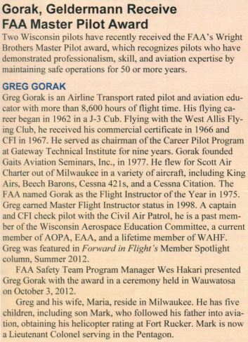 Greg Gorak Receives FAA Master Pilot Award