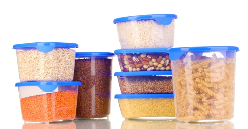 Grains in Plastic Containers