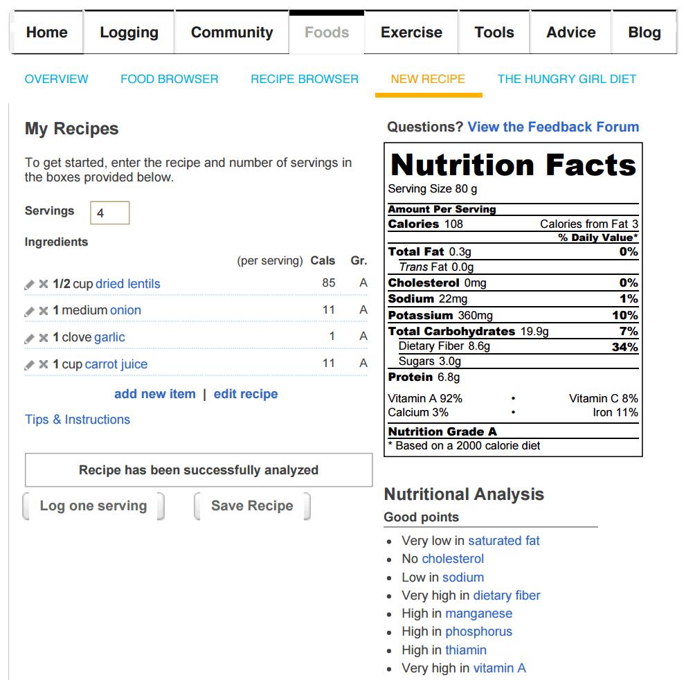 Calorie Counter Website My Recipe Module