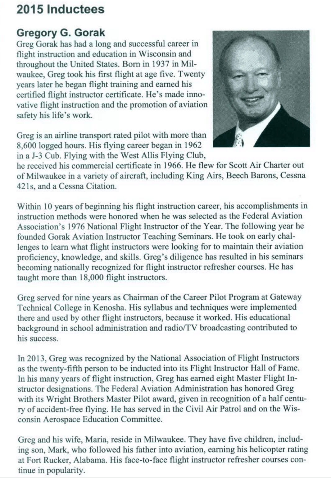 Elite Member Greg Gorak Inducted Into Wisconsin Aviation Hall of Fame
