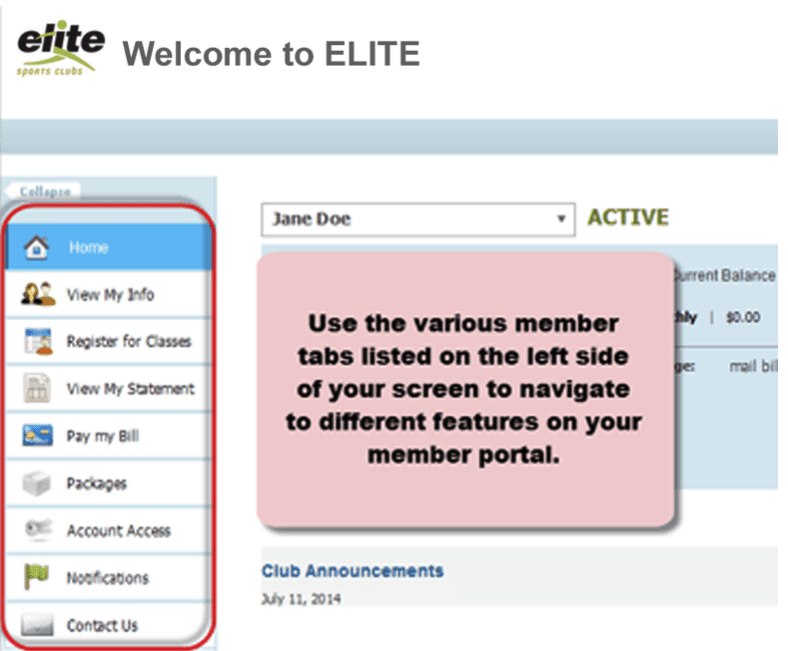 Elite-Sports-Clubs-Member-Portal-tabs
