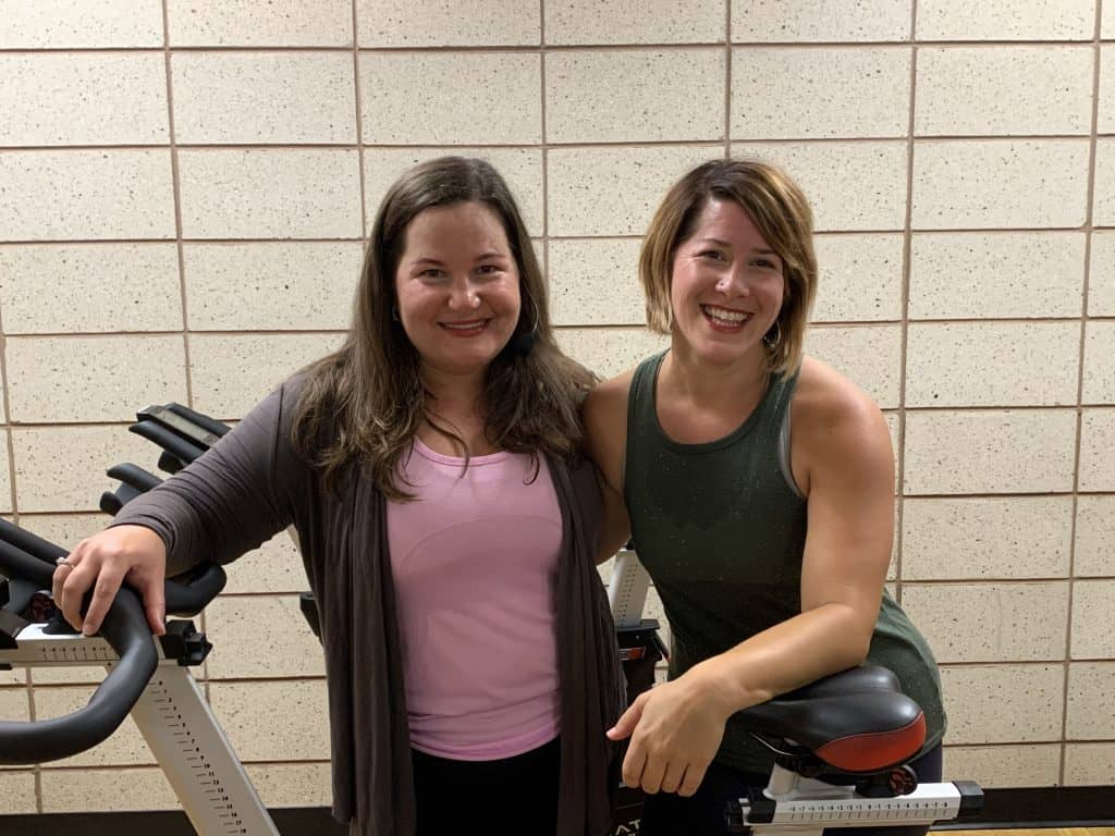 Nicole Giese and Christine McBride in spin class