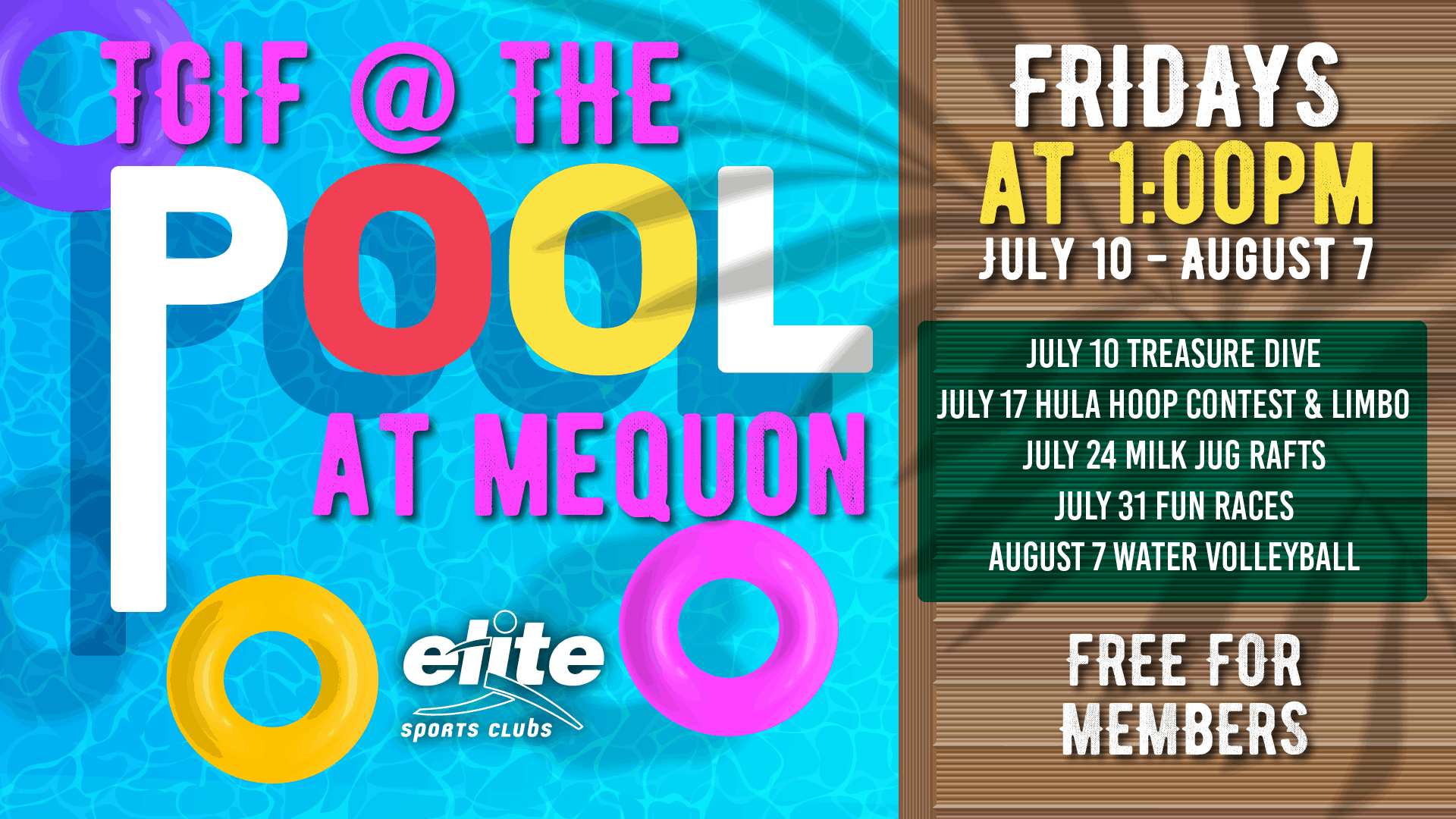 TGIF at the Pool at Elite Mequon Summer 2020
