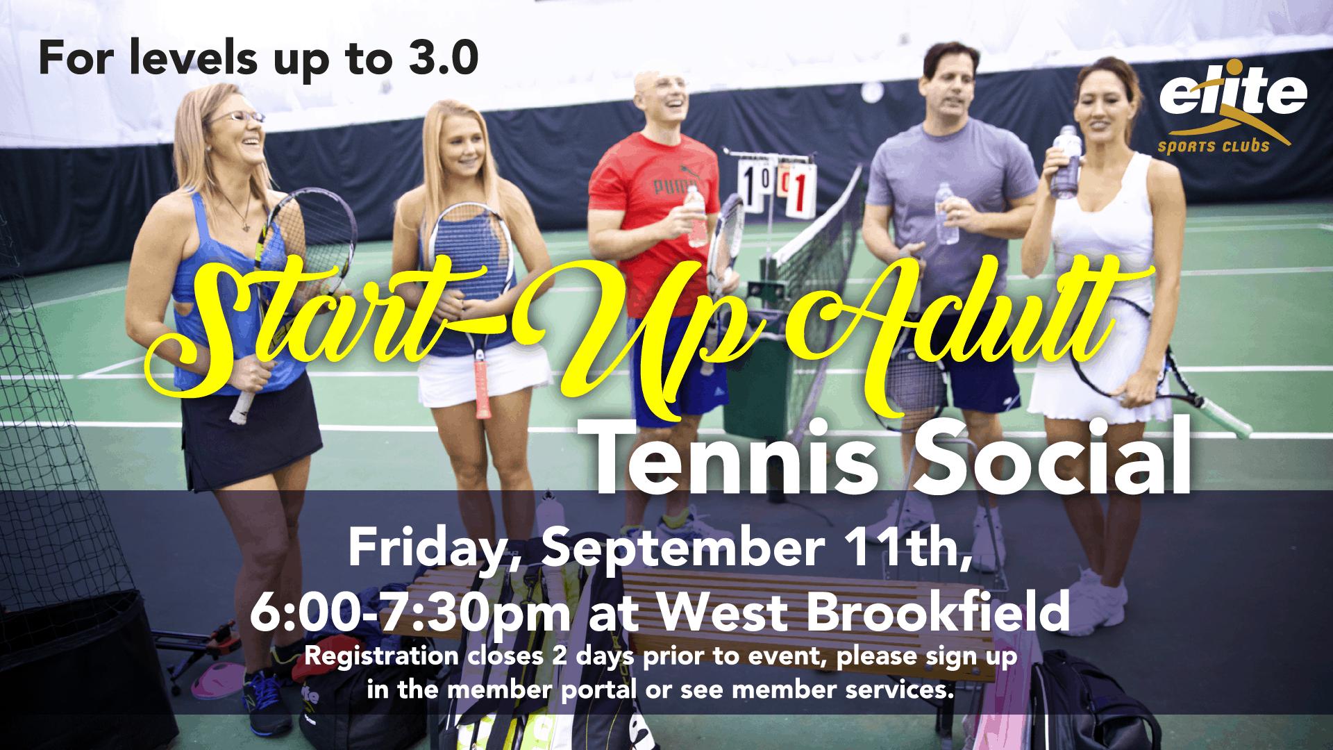Start-up Adult Tennis Social - Elite West Brookfield - September 2020