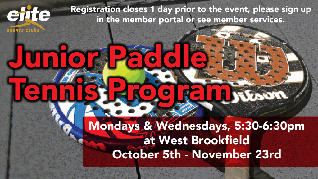 Junior Paddle Tennis Program - Elite West Brookfield - October 2020