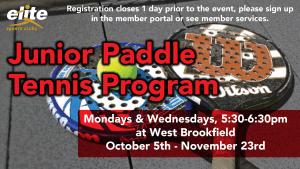 Junior Paddle Tennis Program - Elite West Brookfield - October 2020