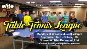 Table Tennis League - Elite Brookfield - Fall 2020
