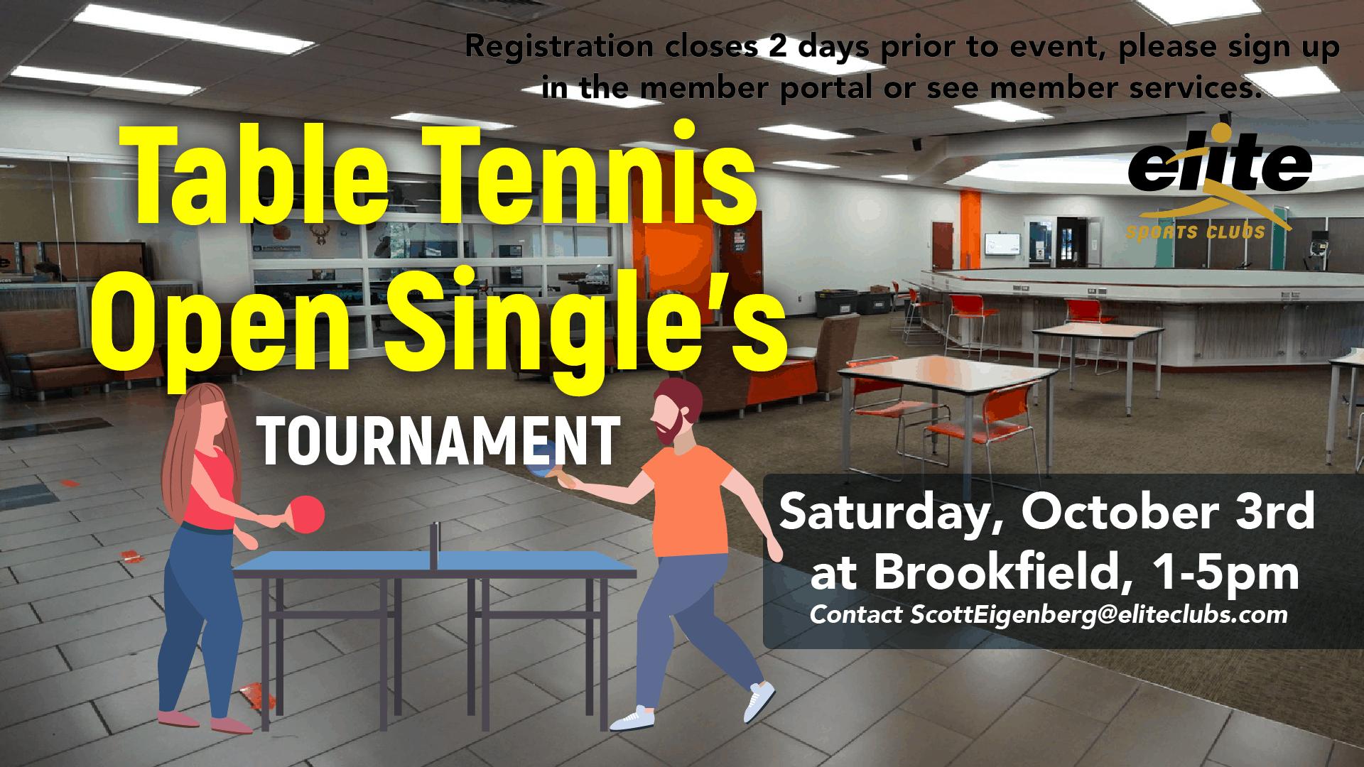 Table Tennis Tournament - Elite Brookfield - October 2020