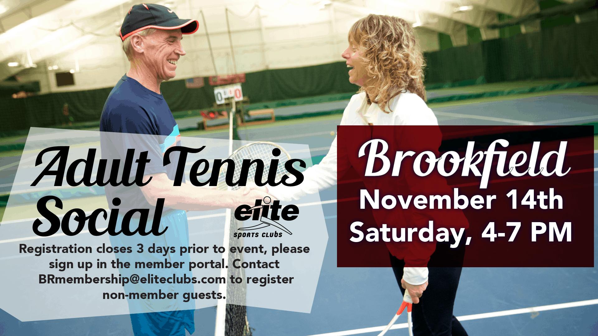 Adult Tennis Social - Elite Brookfield - November 2020