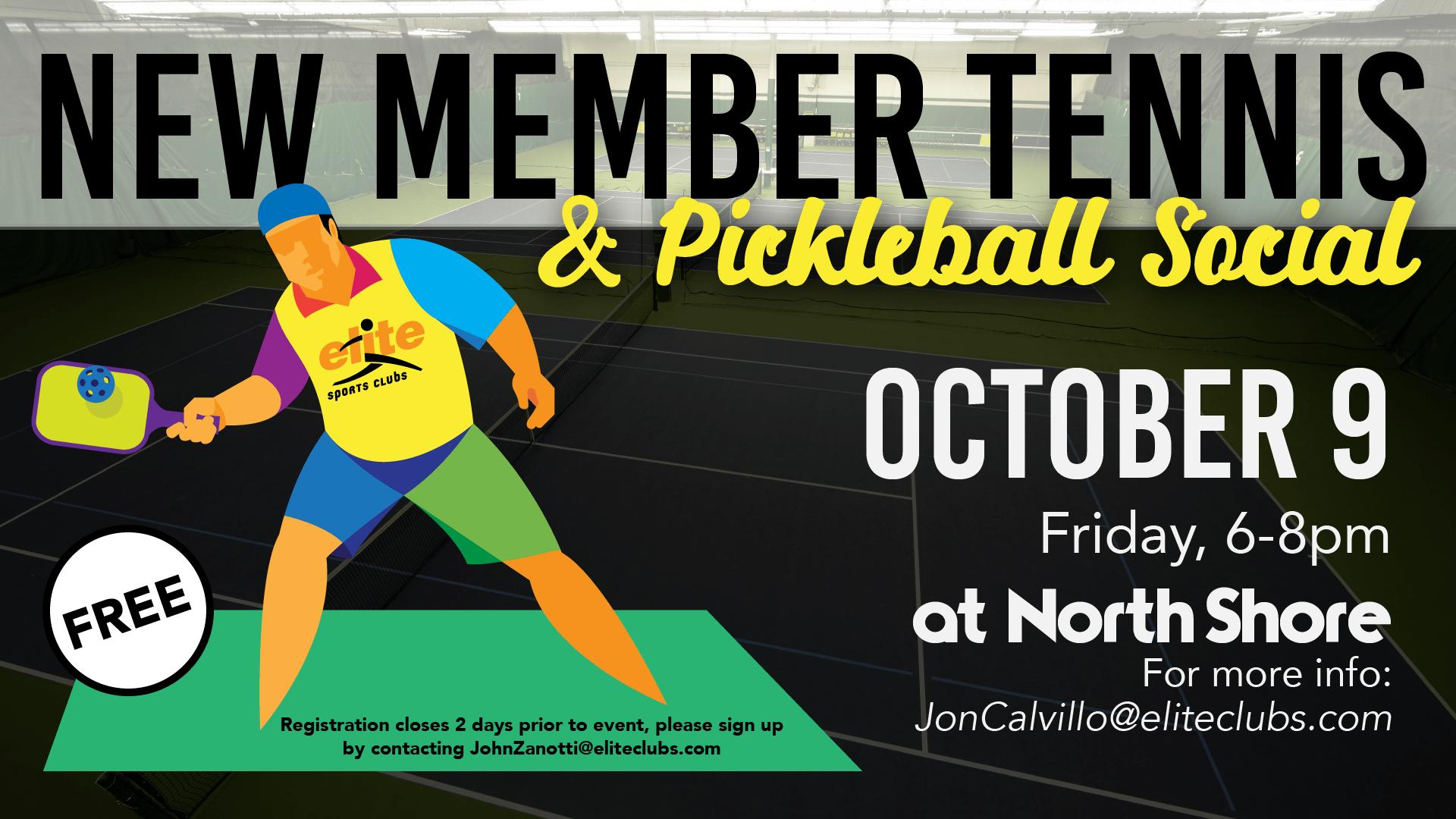 New Member Tennis Pickleball Social - Elite North Shore - October 2020