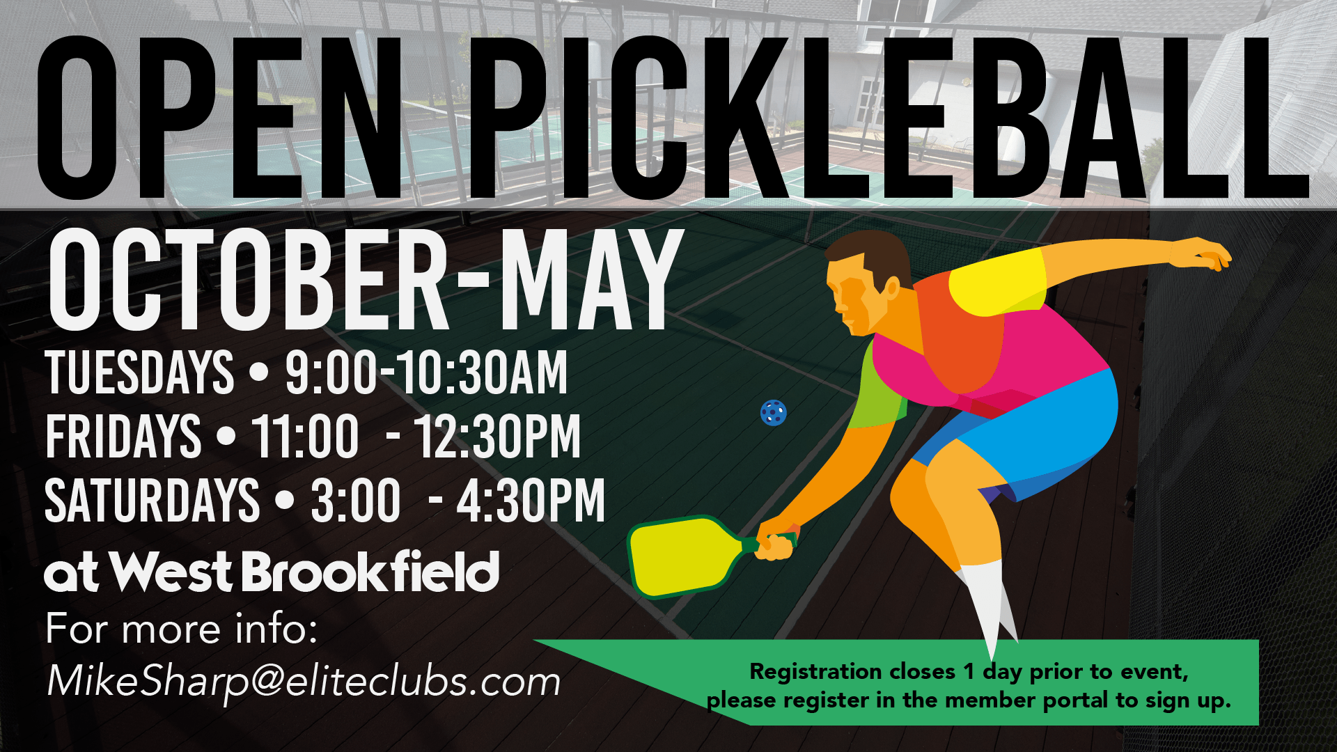 Open Pickleball - Elite West Brookfield - Fall 2020