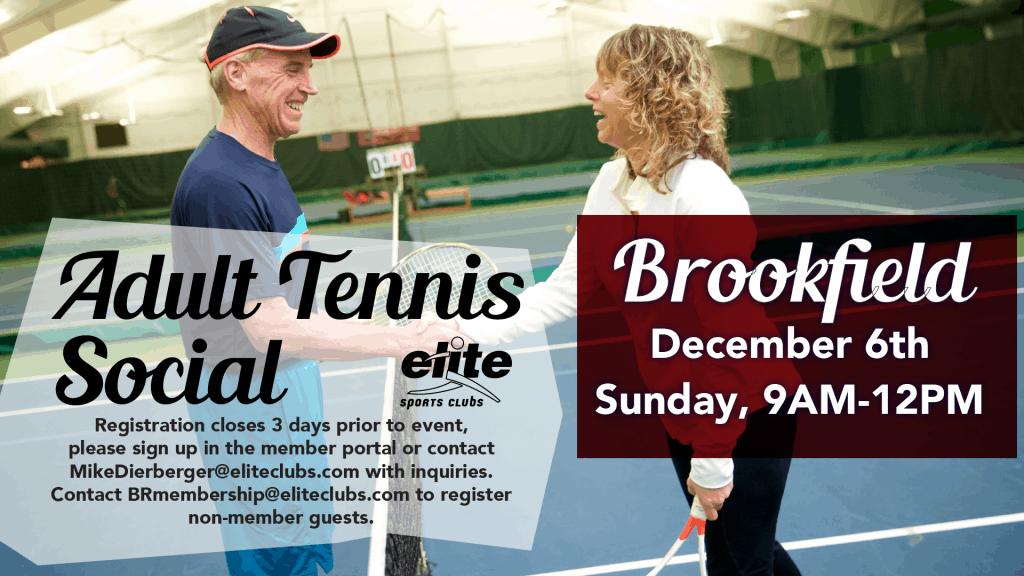 Adult Tennis Social - Elite Brookfield - December 2020
