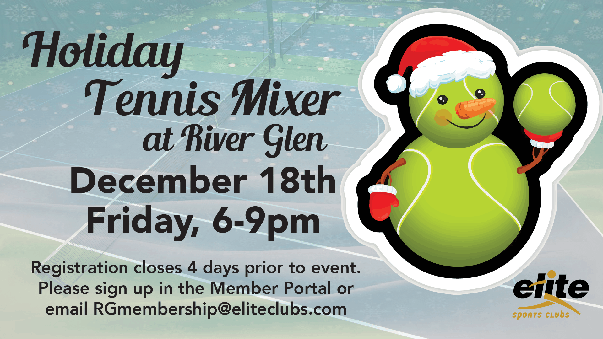 Holiday Tennis Mixer - Elite River Glen - December 2020