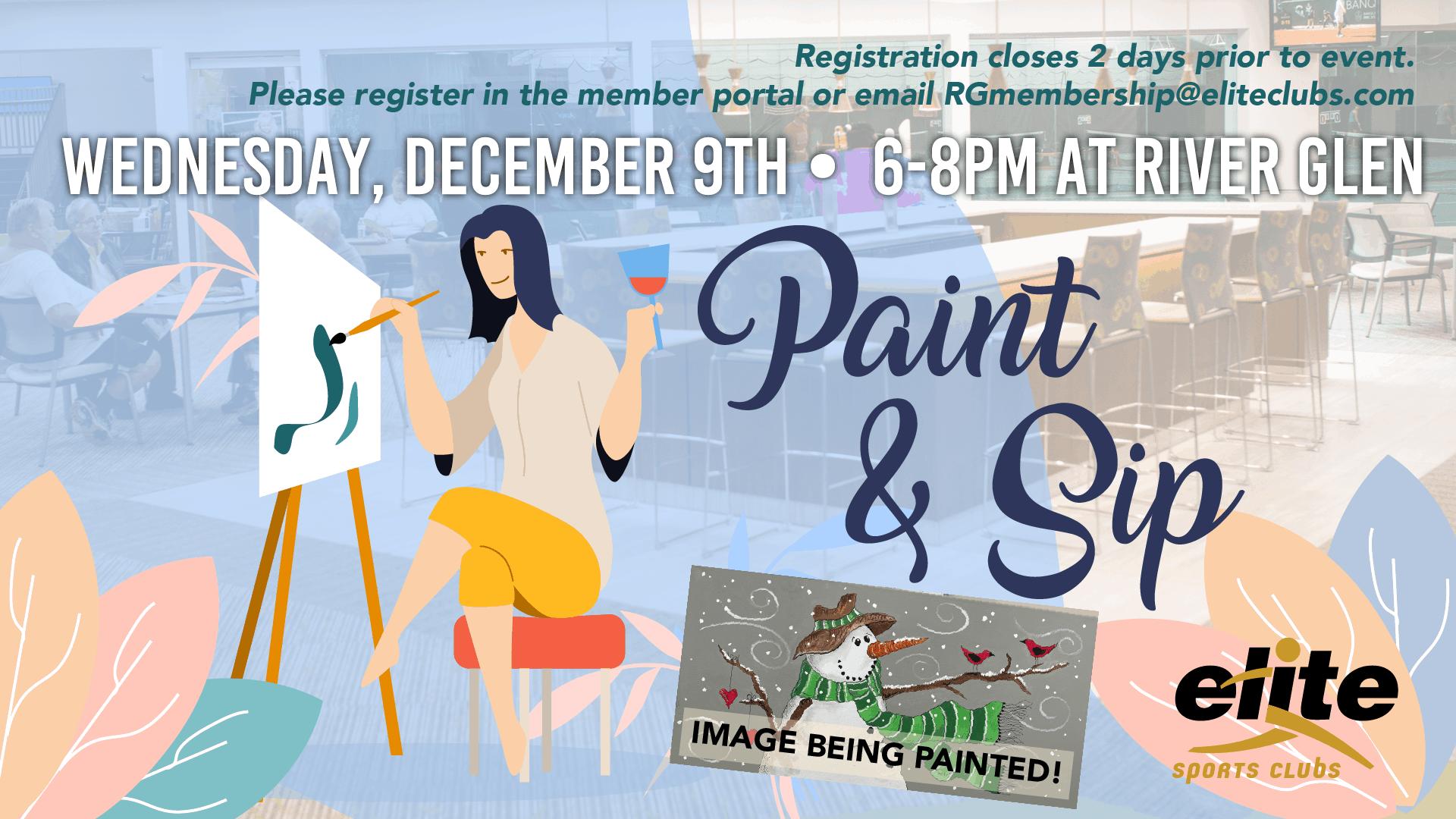 Paint and Sip - Elite River Glen - December 2020