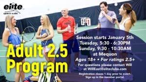 Adult 2.5 Program - Elite Mequon - January 2021