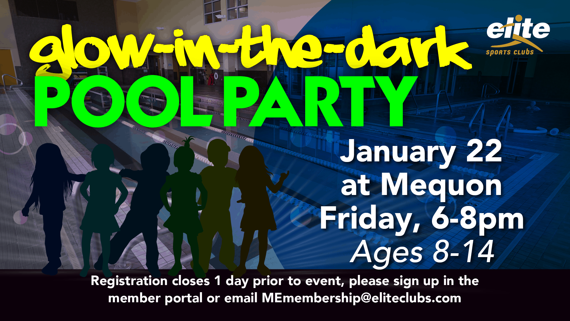 Glow in the Dark Pool Party - Elite Mequon - January 2021