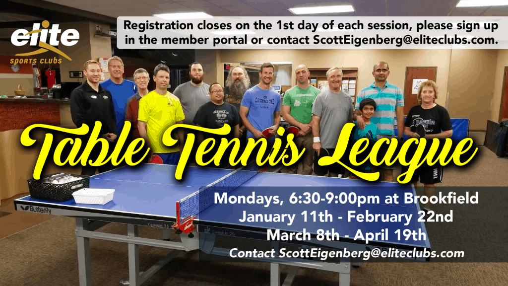 Table Tennis League - Elite Brookfield - January 2021