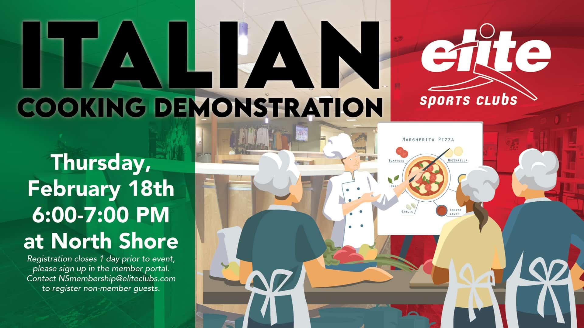 Italian Cooking Demonstration - Elite North Shore - February 2021