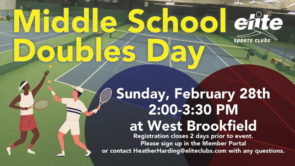 Middle School Doubles Day Tennis - Elite West Brookfield - February 2021