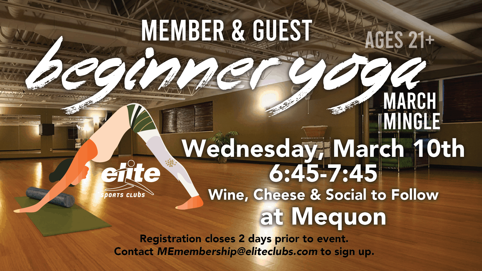 Member & Guest Beginner Yoga March Mingle - Elite Mequon - March 2021
