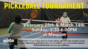 Pickleball Tournament - Elite Mequon - February-March 2021