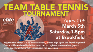 Team Table Tennis Tournament - Elite Brookfield - March 2021