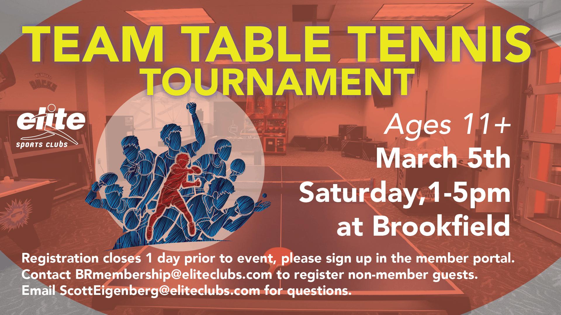 Team Table Tennis Tournament - Elite Brookfield - March 2021