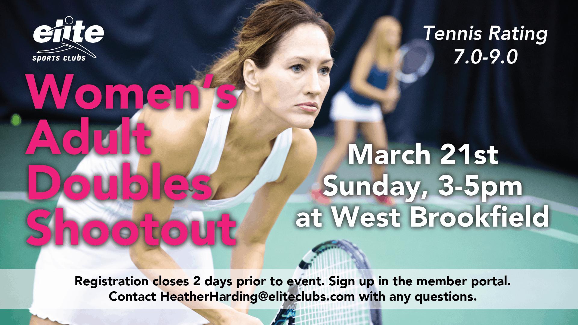 Womens Adult Doubles Shootout - Elite West Brookfield - March 2021