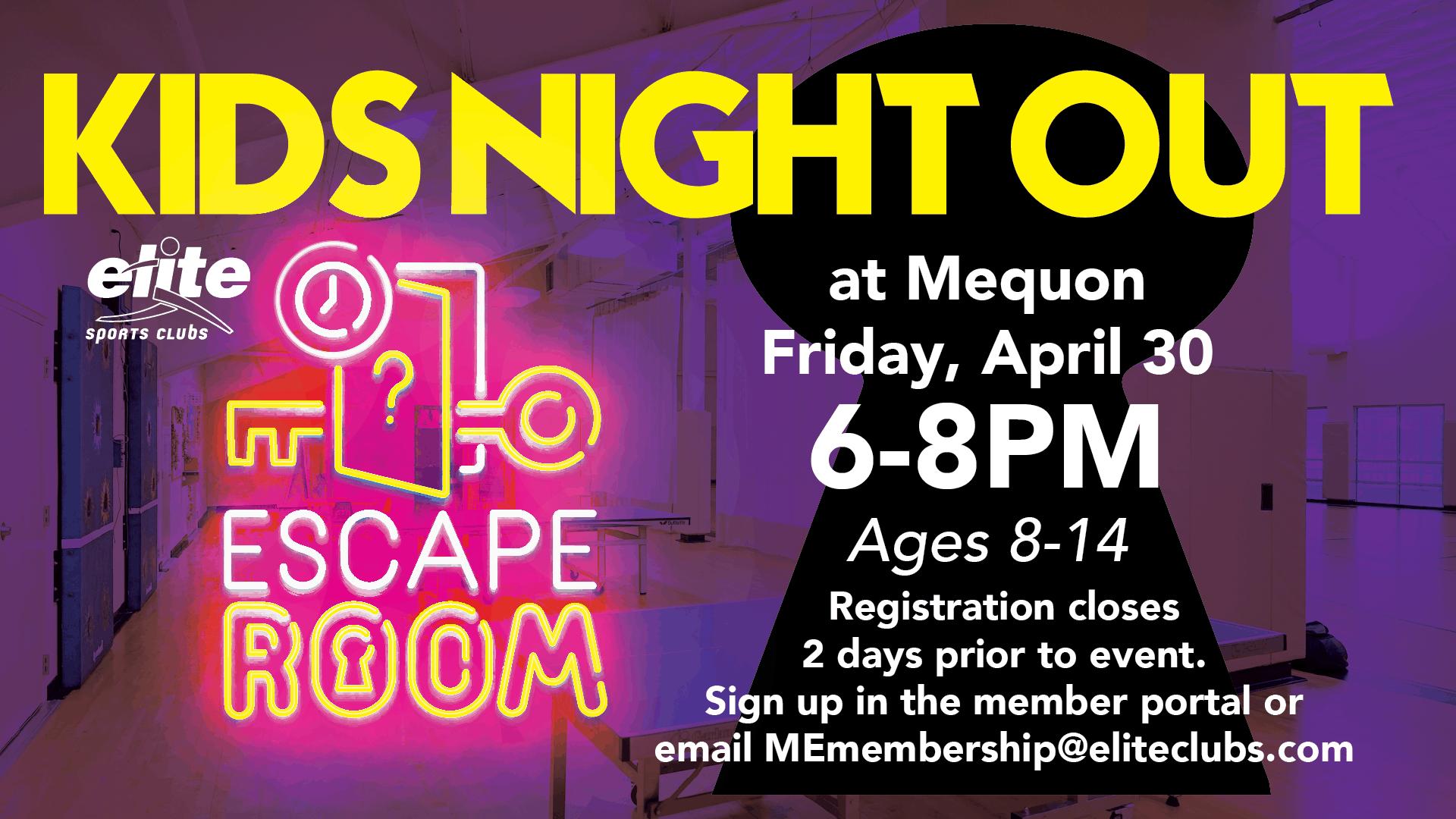 Kids Night Out Escape Room - Elite Mequon - April 2021