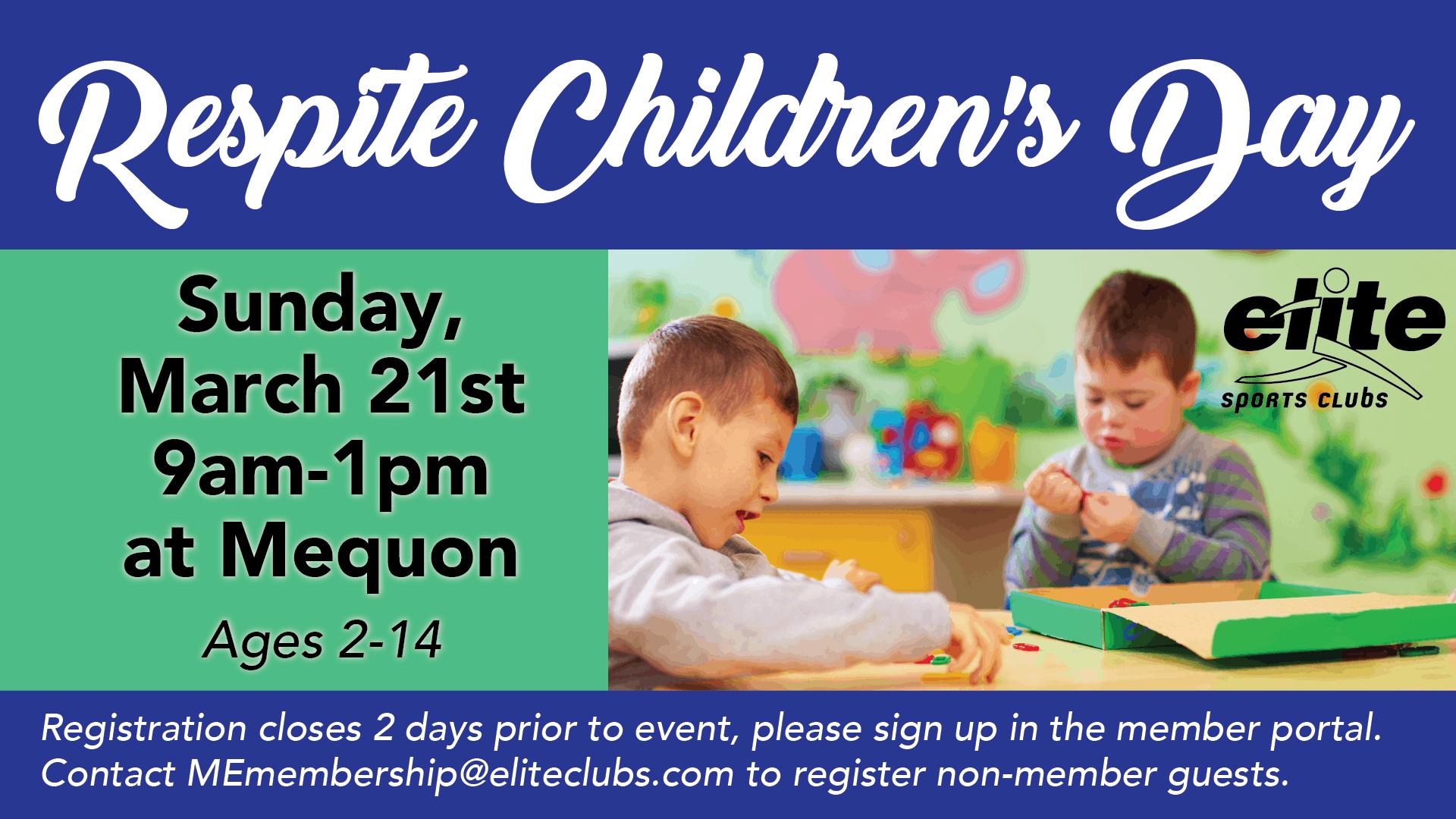 Respite Childrens Day - Elite Mequon - March 2021