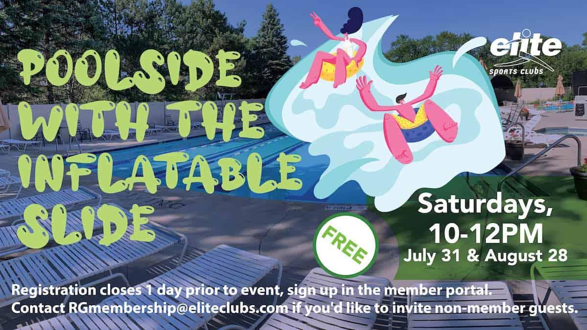Poolside with the Inflatable Slide - Elite River Glen - Summer 2021