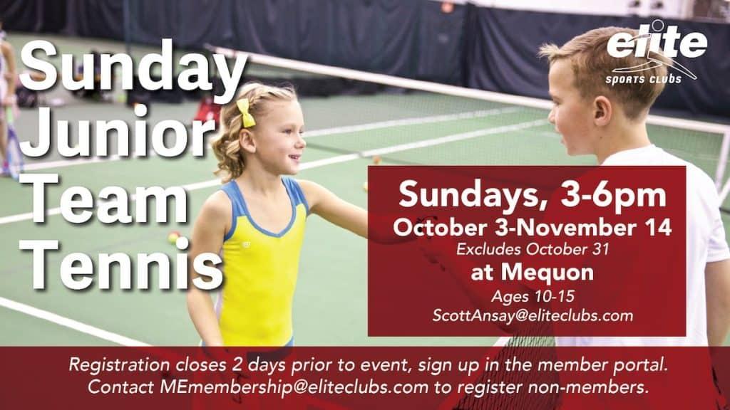 Sunday Junior Team Tennis - Elite Mequon - October 2021